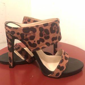 Open toe animal print mule heels